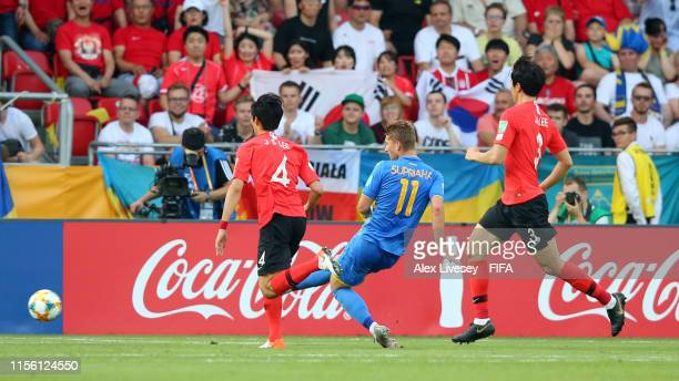 Vladyslav Supriaha of Ukraine scores his team's second goal during the 2019 FIFA U20 World Cup Final between Ukraine and Korea Republic at Lodz...