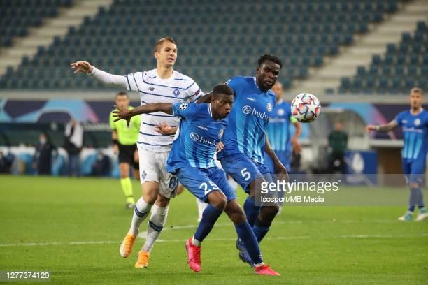 Vladyslav Supryaha of Kyiv battles for the ball with Nurio Fortuna of KAA Gent and Michael Ngadeu of KAA Gent during the UEFA Champions League...