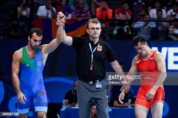 R Vlaslov of Russia and E Mursaliyev of Kazakhstan during the Men's 80 Kg GrecoRoman competition during the Paris 2017 World Championships at...
