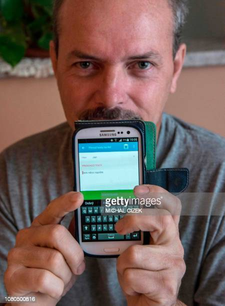 Vlastimil Gular who lost his larynx and his voice after a cancer speaks in his own voice via a mobile phone using the special app to type in what he...