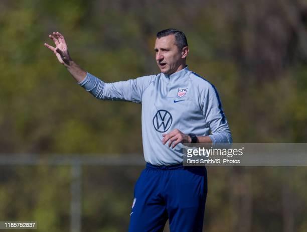 Vlatko Andonovski of the United States talks to his team at Columbus Crew Training Facility on November 3 2019 in Columbus Ohio