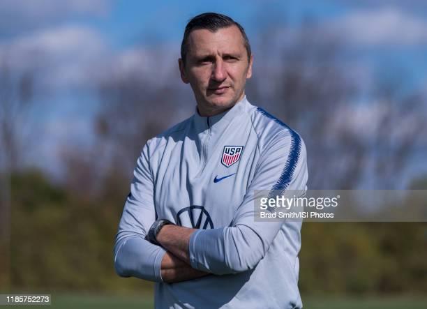 Vlatko Andonovski of the United States watches his team at Columbus Crew Training Facility on November 3 2019 in Columbus Ohio