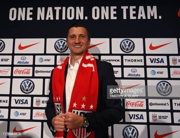 Vlatko Andonovski poses for photographers after a press conference where it was announced as the new US Soccer Womens National Team head coach on...