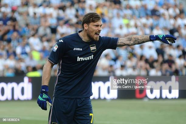Vld Belec goalkeeper of UC Sampdoria reacts during the serie A match between Spal and UC Sampdoria at Stadio Paolo Mazza on May 20 2018 in Ferrara...
