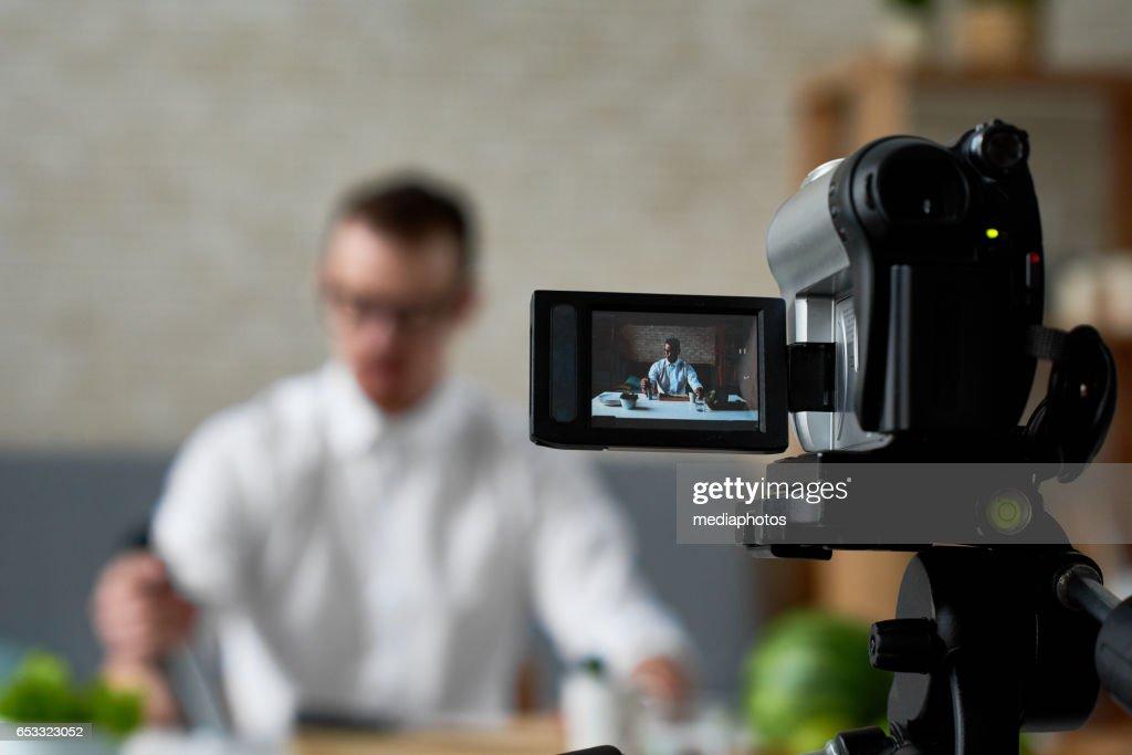 Vlog of chef : Stock Photo
