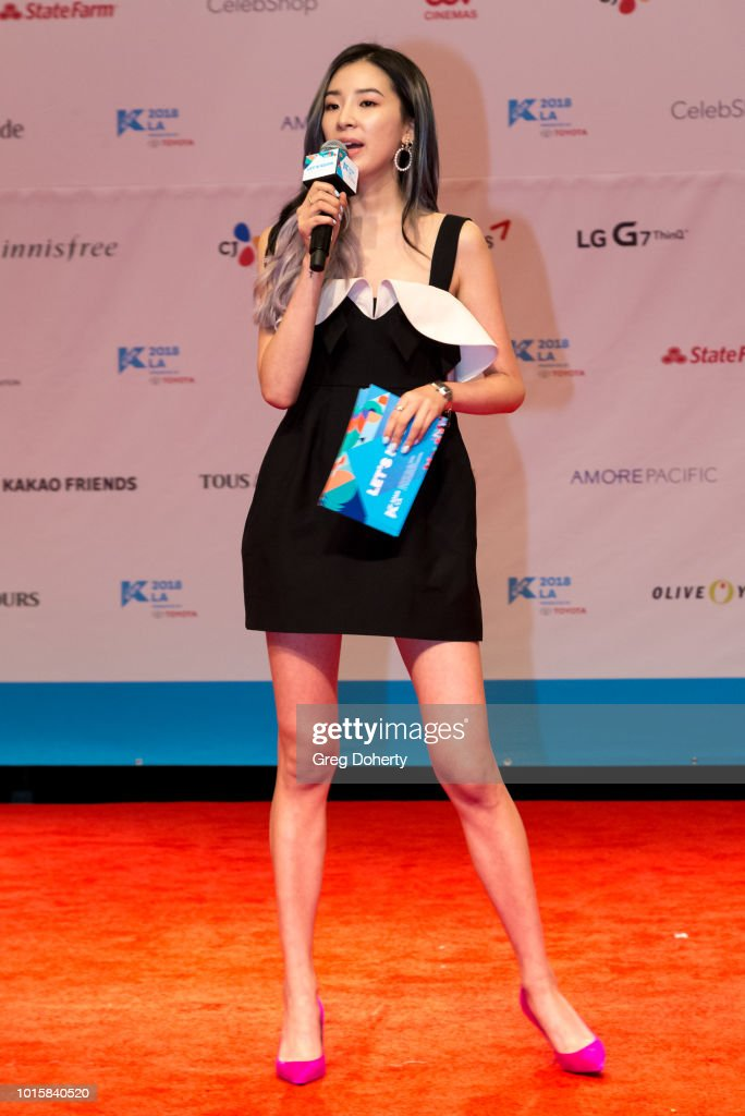 Vlogger Irene Kim hosts the Photo Op at KCON 2018 LA at Los Angeles Convention Center on August 11, 2018 in Los Angeles, California.