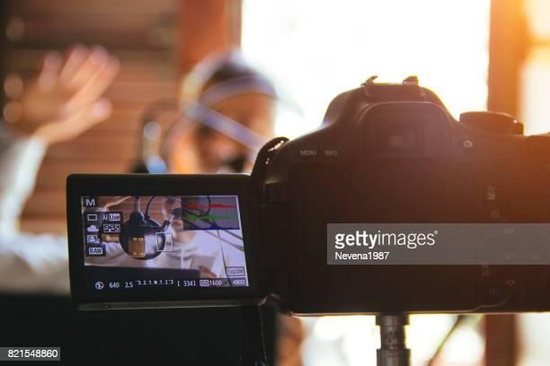 Vlogger recording a vlog
