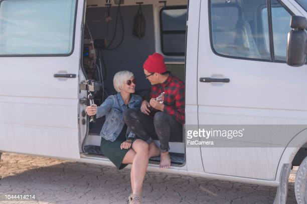 vlogging in a van - road warrior stock photos and pictures