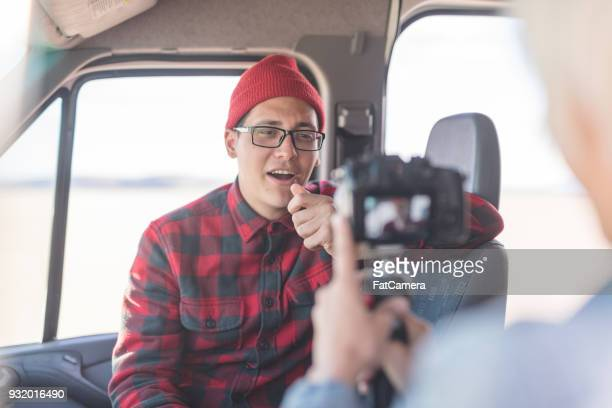vlogging in a van - influencer stock photos and pictures