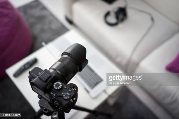vlogging studio equipment at home - social media marketing stock pictures, royalty-free photos & images
