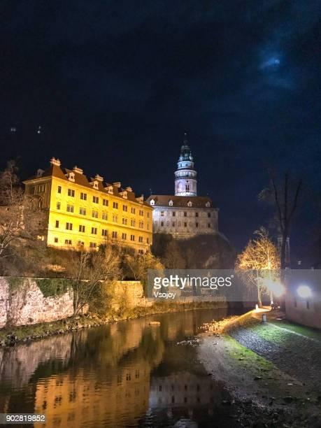 vltava river and castle tower, český krumlov castle, czech republic - vsojoy stock pictures, royalty-free photos & images