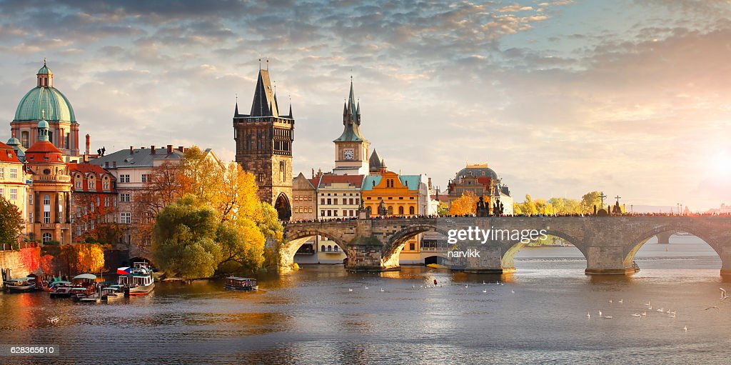 Vltava river and Charles bridge in Prague : Stock Photo