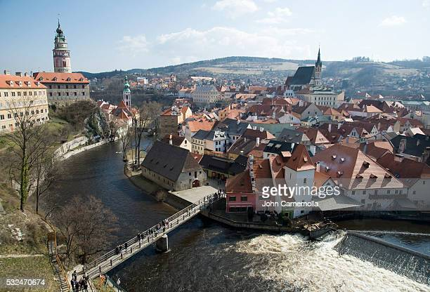 vltava river in cesky krumlov - cesky krumlov castle stock photos and pictures