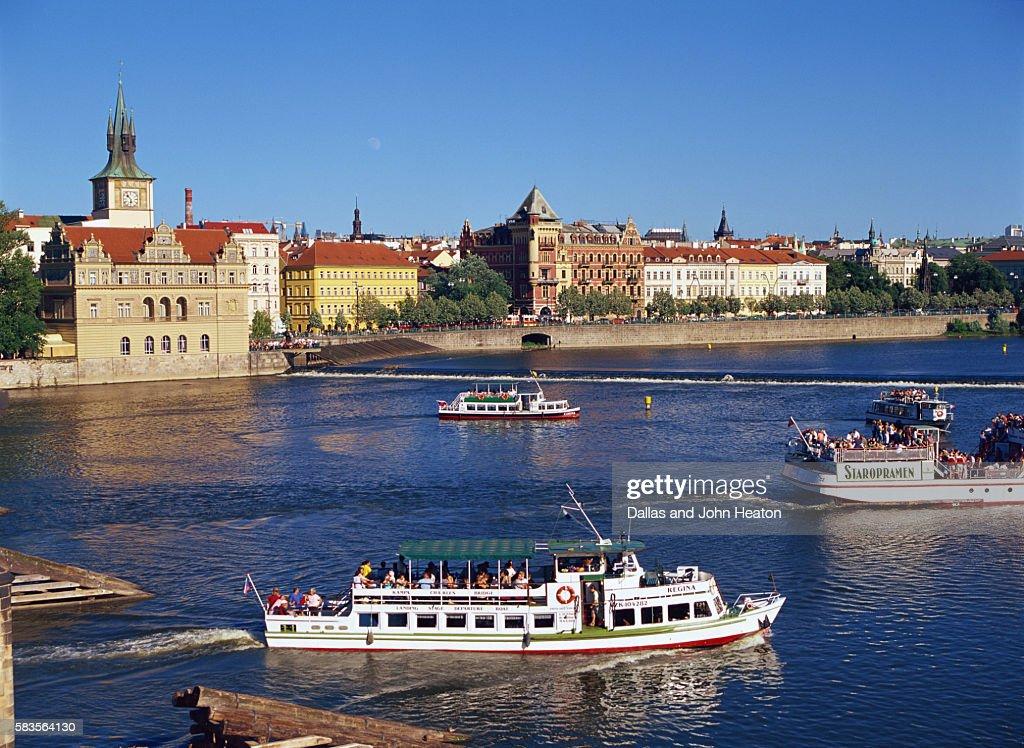 Vltava River, Smetana Museum, Opera Mozart Theatre, Prague, Czech Republic : Stock Photo