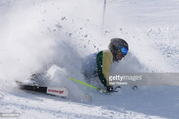 Vo Huu Vinh Nguyen of Vietnam crashes in men's slalom alpine skiing on the day eight of the 2017 Sapporo Asian Winter Games at Sapporo Teine on...