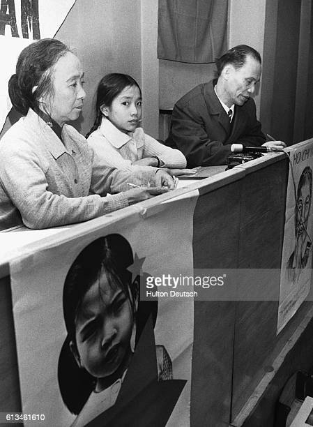 Vo Thi Lien, a 13-year-old survivor of the My Lai massacre which took place during the Vietnam War, attends a press conference in London upon the...