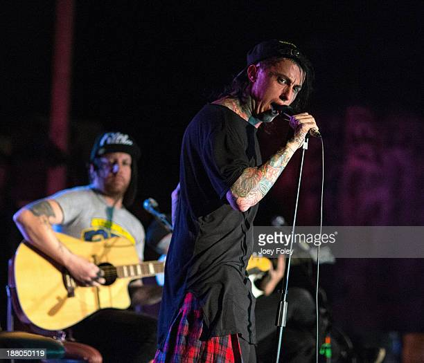 Vocaist Ronnie Radke of Falling In Reverse performs at The Emerson Theater on November 14 2013 in Indianapolis Indiana