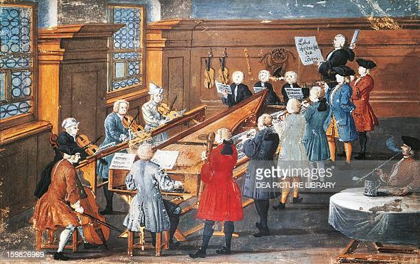 Vocal and instrumental concert in the Baroque period gouache Germany 18th century Nuremberg Germanisches Nationalmuseum