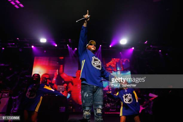 Vocal artist Flo Rida performs during the Saturday Night Party as part of the 2018 NHL AllStar on January 27 2018 in Tampa Florida