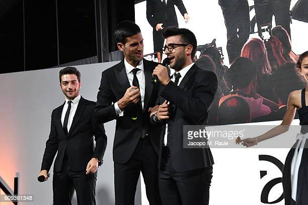 Vocal band Il Volo and Novak Djokovic attend the Milano Gala Dinner benefitting the Novak Djokovic Foundation presented by Giorgio Armani at Castello...
