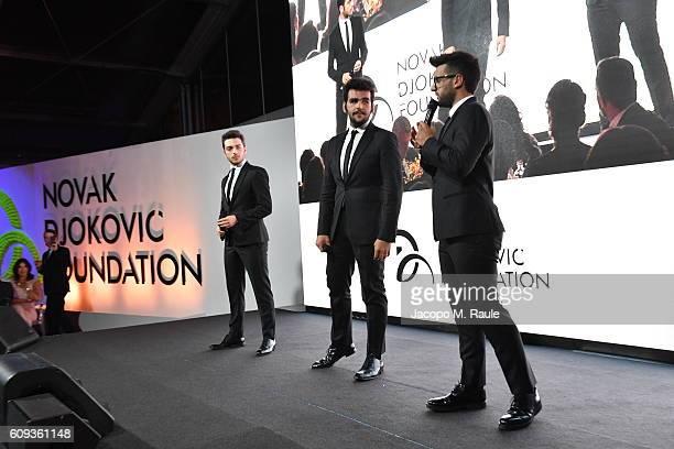 Vocal band Il Volo attend the Milano Gala Dinner benefitting the Novak Djokovic Foundation presented by Giorgio Armani at Castello Sforzesco on...