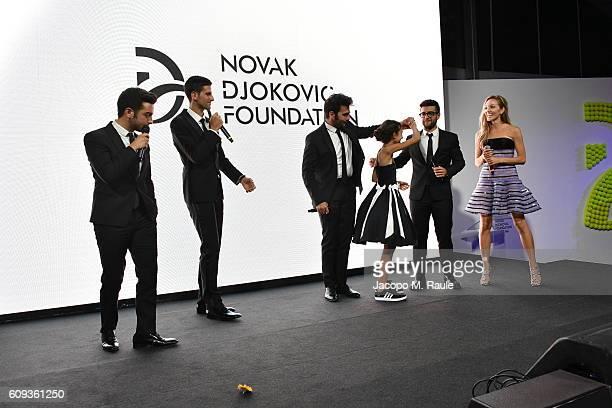 Vocal band Il Volo,Novak Djokovic, Zia Uehling and Jelena Djokovic attend the Milano Gala Dinner benefitting the Novak Djokovic Foundation presented...