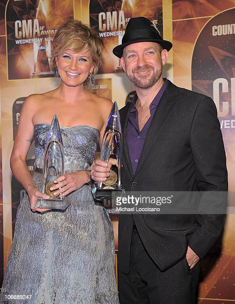Vocal Duo of the Year winners Jennifer Nettles and Kristian Bush of Sugarland attend the 44th Annual CMA Awards at the Bridgestone Arena on November...