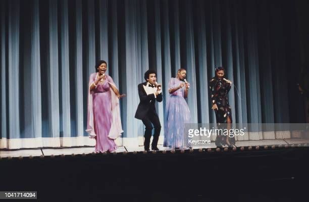 Vocal group Boney M in concert at the Royal Variety Performance London UK November 1979 They are Marcia Barrett Maizie Williams Bobby Farrell and Liz...