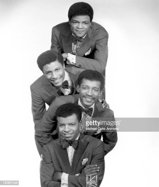B vocal group 'Little Anthony The Imperials' pose for a portrait in 1968 in New York City New York Top to bottom Ernest Wright Sammy Strain Clarence...