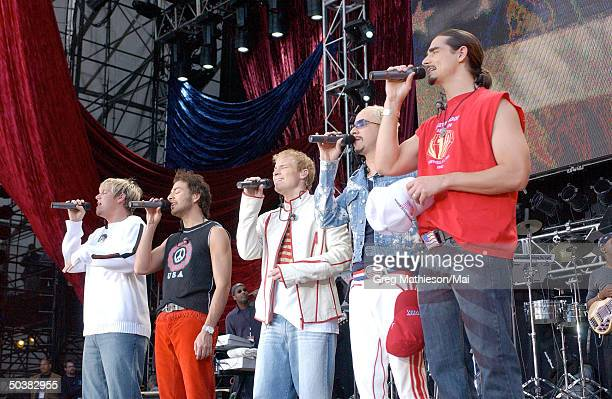 Vocal group The Back Street Boys performing at the United We Stand What More Can I Give concert for the victims of the September 11th terrorist...