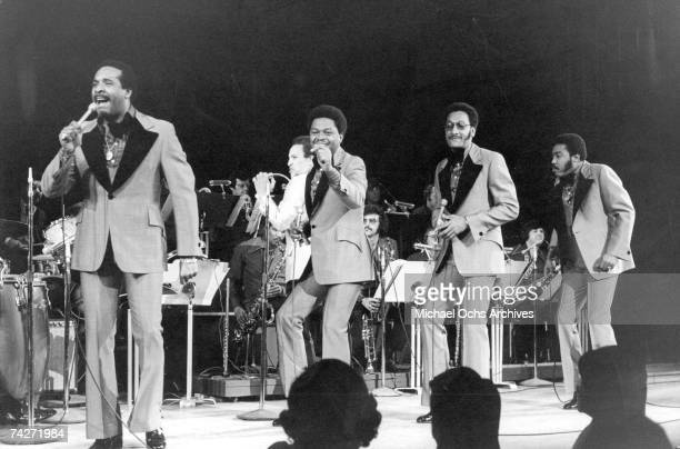 B vocal group The Four Tops perform onstage in circa 1973 in New York City New York Levi Stubbs Ronaldo Obie Benson Abdul Duke Fakir Lawrence Payton