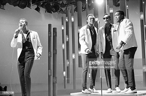 B vocal group The Four Tops perform ostage on the TV show Hullabaloo in 1965 in New York City New York Levi Stubbs Renaldo Obie Benson Abdul Duke...