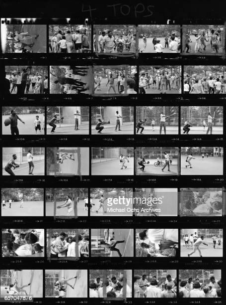 RB vocal group 'The Four Tops' play basketball in 1965 in New York City New YorkRonaldo 'Obie' Benson Abdul 'Duke' Fakir Levi Stubbs Lawrence Payton