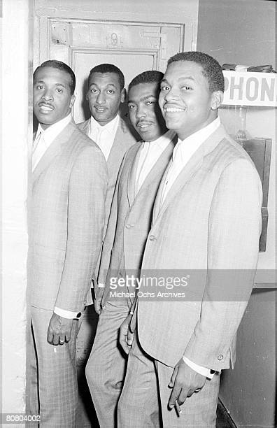 B vocal group The Four Tops pose for a portrait backstage in circa 1964 Levi Stubbs Abdul Duke Fakir Lawrence Payton Ronaldo Obie Benson