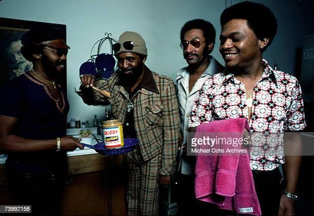 B vocal group The Four Tops pose for a portrait in February 1975 Lawrence Payton Levi Stubbs Abdul Duke Fakir Ronaldo Obie Benson