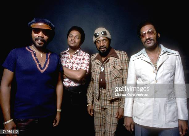 B vocal group 'The Four Tops' pose for a portrait in February 1975 Lawrence Payton Ronaldo 'Obie' Benson Levi Stubbs Abdul 'Duke' Fakir