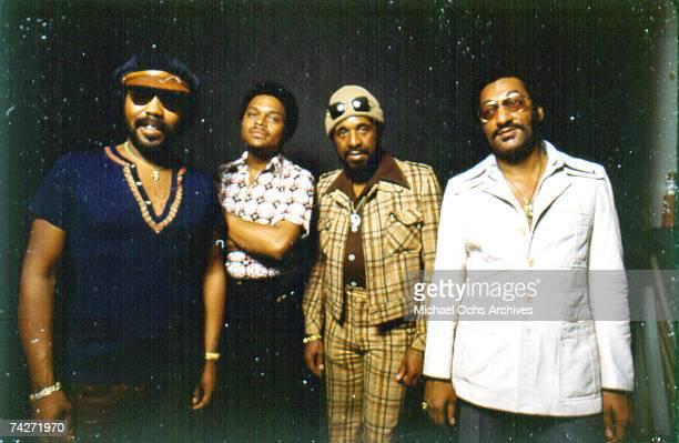 B vocal group The Four Tops pose for a portrait in February 1975 Lawrence Payton Ronaldo Obie Benson Levi Stubbs Abdul Duke Fakir