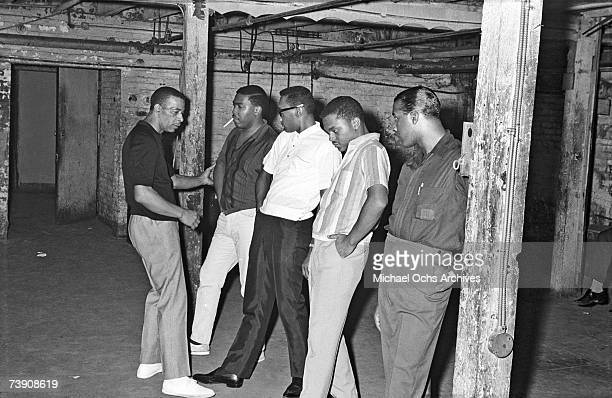 B vocal group 'The Four Tops' rehearse with their choreographer Cholly Atkins in the basement of the Apollo Theatre in 1964 in New York City New York...