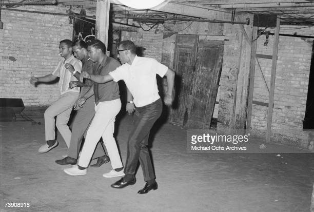 B vocal group The Four Tops rehearses in the basement of the Apollo Theatre in 1964 in New York City New York Renaldo Obie Benson Levi Stubbs...