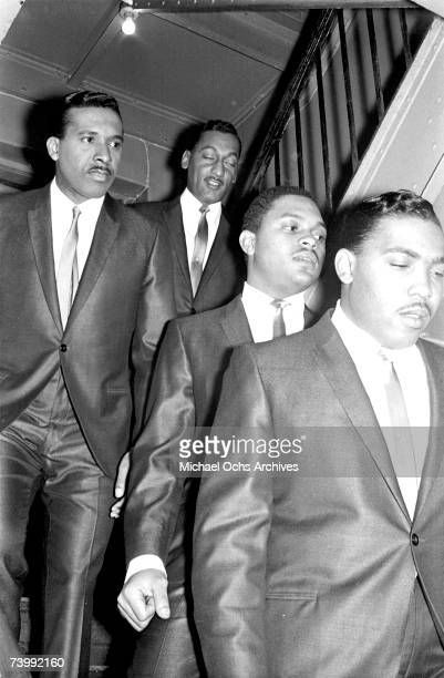 B vocal group The Four Tops walk down the stairs backstage before a concert in Autumn 1964 in New York City New York Levi Stubbs Abdul Duke Fakir...