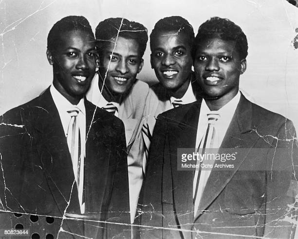 B vocal group The Hollywood Flames pose for a portrait in circa 1955 in Los Angeles California Leon Hughes Bobby Day Curly Dinkins David Ford