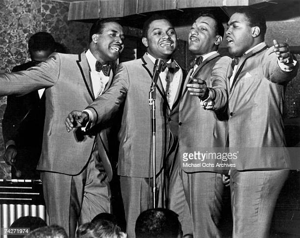 Vocal quartet The Four Tops perform onstage in circa 1965 Levi Stubbs Ronaldo Obie Benson Abdul Duke Fakir Lawrence Payton