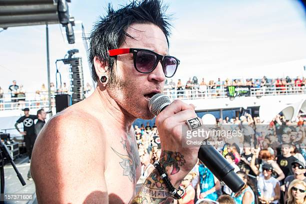 Vocalist A Jay Popoff of Lit performs onboard Shiprocked cruise on November 28 2012 in Fort Lauderdale Florida