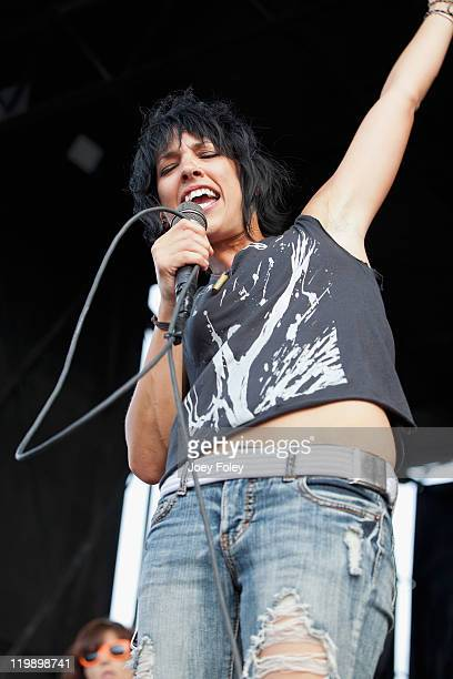 Vocalist Abisha Uhl of Sick of Sarah performs onstage during the 2011 Vans Warped Tour at the Marcus Amphitheater on July 19 2011 in Milwaukee...