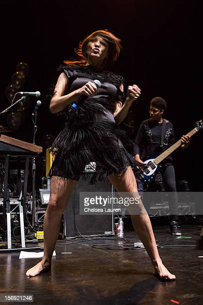 Vocalist Aja Volkman of Nico Vega performs at Gibson Amphitheatre on November 24 2012 in Universal City California