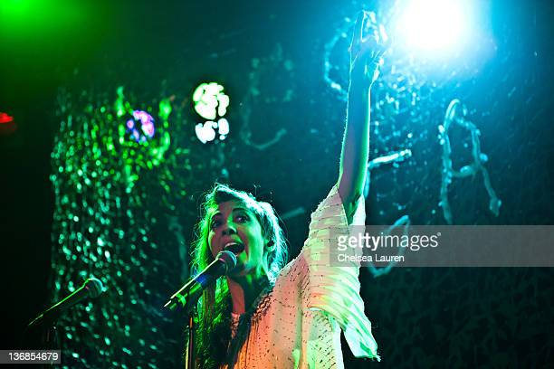 Vocalist Aja Volkman of Nico Vega performs at The Roxy Theatre on January 11 2012 in West Hollywood California