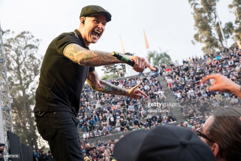 Vocalist Al Barr of Dropkick Murphys performs at The Greek Theater on August 20, 2017 in Berkeley, California.