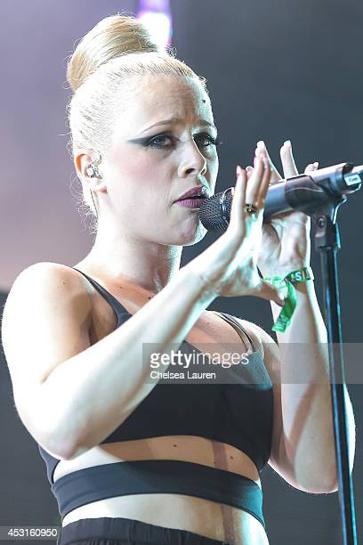 Vocalist Alana Watson of Nero performs during HARD Summer at Whittier Narrows Recreation Area on August 3 2014 in Los Angeles California