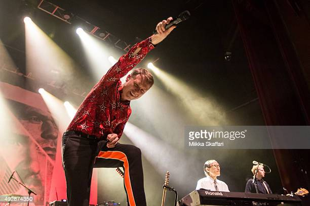 Vocalist Alex Kapranos of FFS performs at Fox Theater on October 15 2015 in Oakland California
