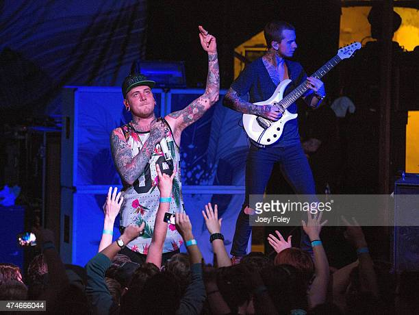 Vocalist Alex Koehler of Chelsea Grin performs at The Emerson Theater on May 3 2015 in Indianapolis Indiana